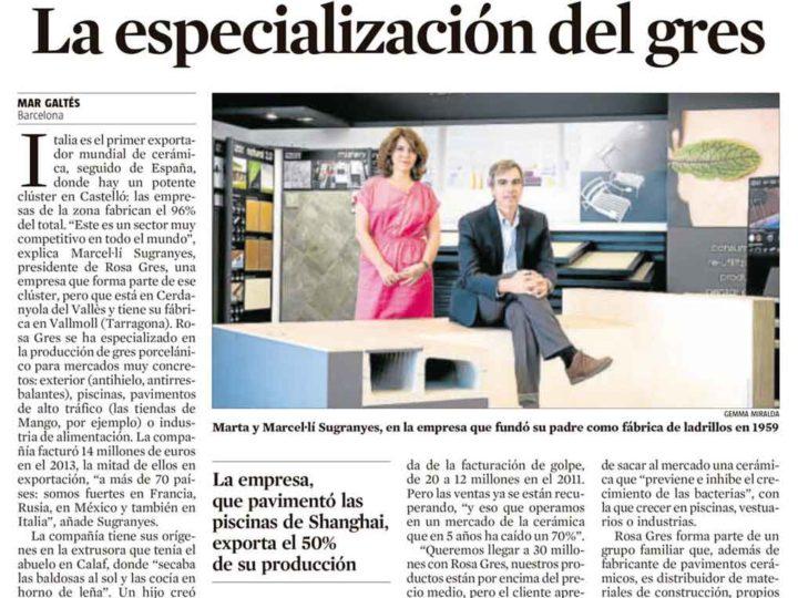Rosa Gres citée dans le journal La Vanguardia