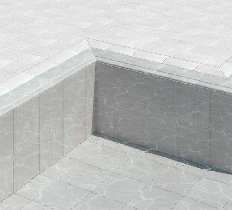 Rejilla para piscina desbordante en gres porcelánico, colección Serena