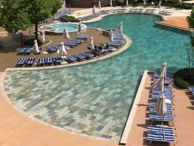 Superior View of Porcelain Stoneware Pool Rosa Gres Serena Mix - Hotel Miramar Obzor