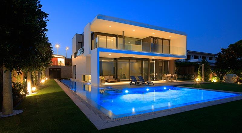 Iluminación piscina pavimento porcelánico Rosa Gres - Mistery Grey
