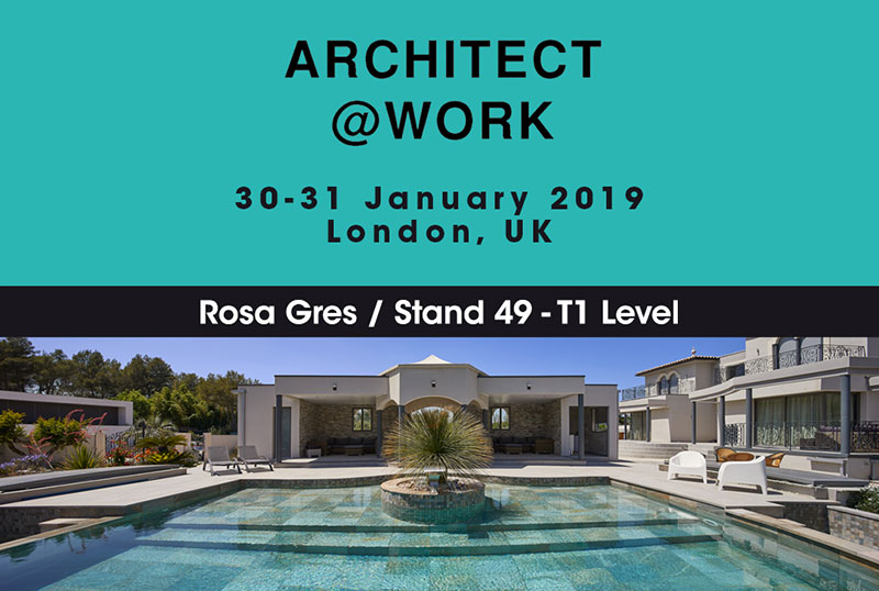 Rosa Gres vuelve a Architect @work 2019. Stand 49