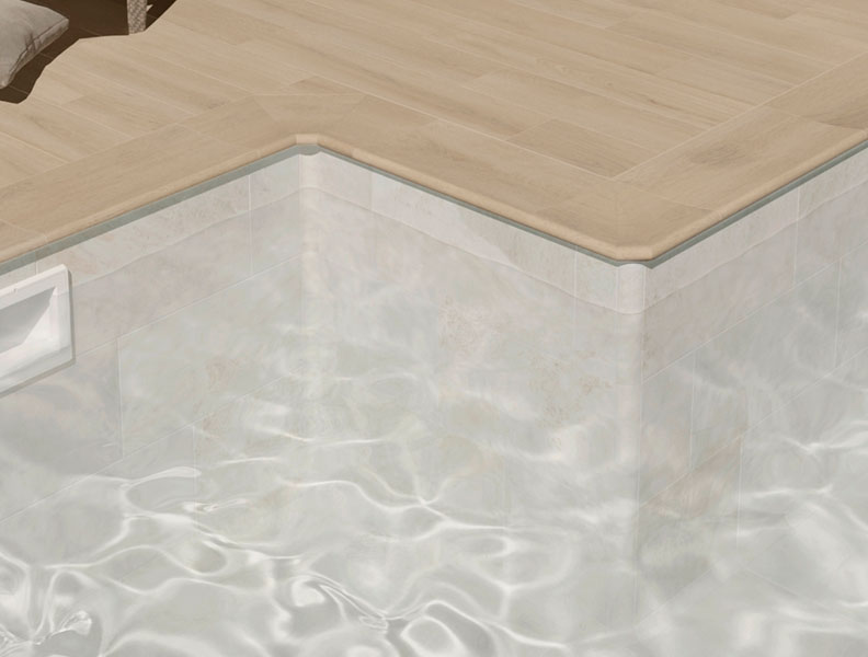 Traditional pool with Solution S - Wood look tile in Porcelain Stoneware - Alma Collection