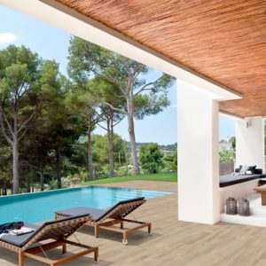 Pool deck wood look tile flooring in porcelain stoneware - Alma Pure