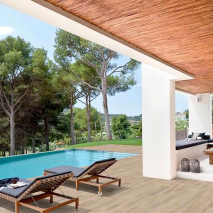 Pool deck wood look tile flooring in porcelain stoneware - Alma Pure