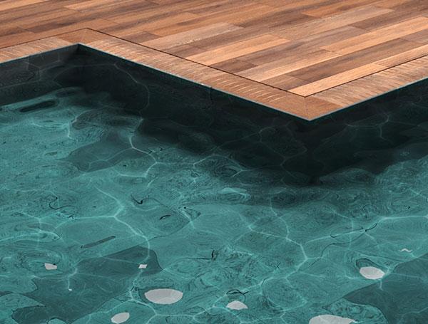 Sistema slim para piscina desbordante, colección Trésor