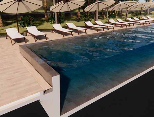 Système Zen pour piscine à débordement, collection Trésor
