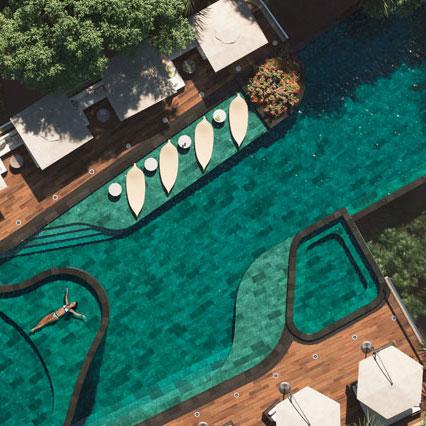 Vaso piscina en gres porcelánico look piedra Trésor Bali