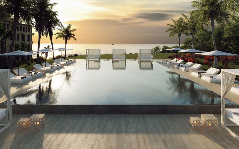 Piscina en gres porcelánico Tresor Java, elige Trésor Java para tu piscina de estilo oriental