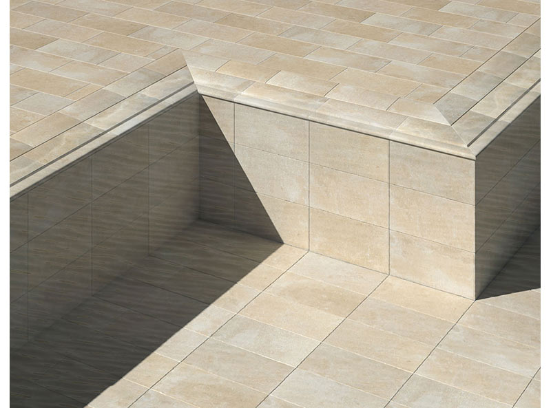 Piscinas desbordante con rejilla invisible en gres porcelánico - Colección Mistery