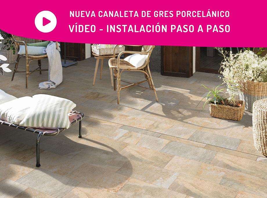 Canaleta desague para terrazas en gres porcelánico - Video