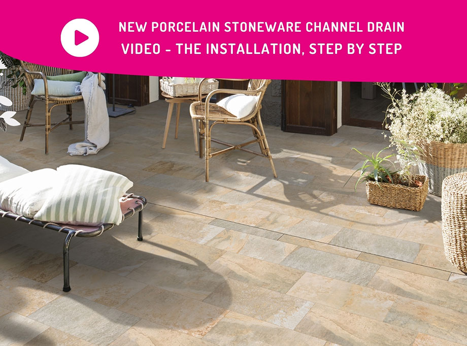 The new porcelain stoneware channel drain - video