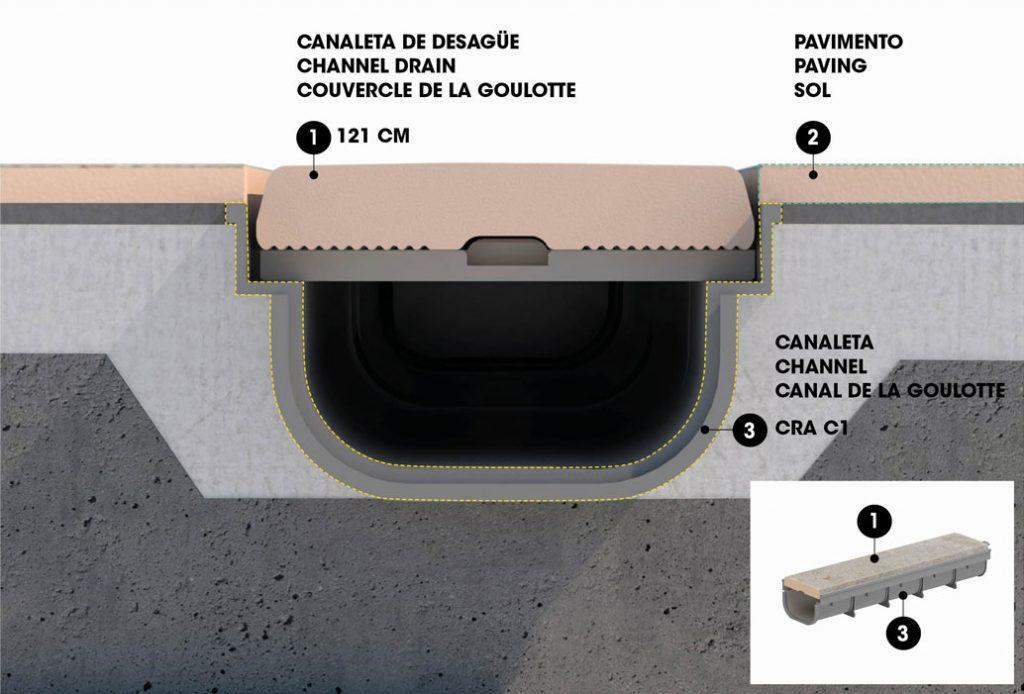 Canaleta de gres Porcelánico de diseño innovador que consigue un rebose del agua fluido y eficaz